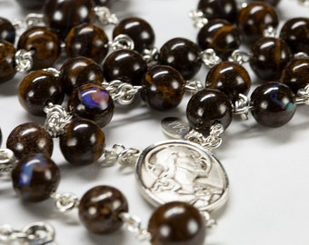 Boulder Opal Men's Rosary, Brown Opal Stones, Sacred Heart of Jesus Center, John Paul Crucifix Gift for Catholic Dads to Pray 5 Decades