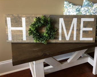 Home sign with boxwood wreath