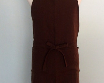 Men's Apron with Pockets in Brown Linen, Unisex Chef Apron, Potting Soil Brown Linen Apron, Extra Wide Apron, Flax, Adjustable, No Neck Ties