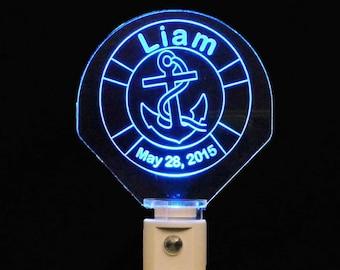 Personalized Baby Anchor LED Night Light, Kids Lamp, Handmade, Nursery, Baby gift