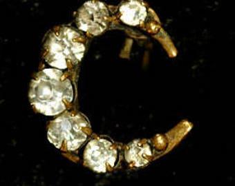 1930s Diamante Crescent Brooch