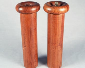 Danish Modern, teak, Pepper mill and Salt shaker, mushroom form