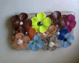 Altered Faux Beige Leather Clutch with leather flowers applique