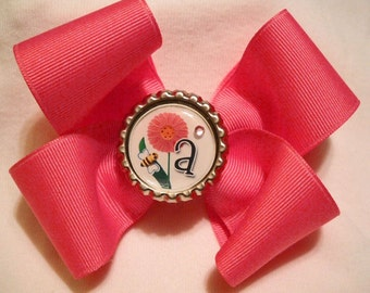 Dark Pink Boutique Hairbow with Initial Bottlecap Center
