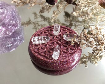 Holographic Pink Glitter Flower Of Life Crystal Grid/ Charging Stand