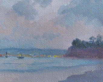 ACEO Landscape Original Oil Painting Clouds Sunset Santa Barbara Seascape Unique Gift for Him or Her Miniature Canvas Jennifer Boswell
