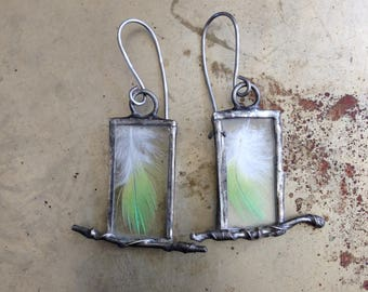 Bird Lovers Real Green Feather Branch Earrings