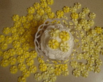 100 Yellow Royal Icing Drop Flowers Edible for cupcakes, cakes, cookies