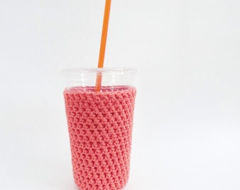 iced coffee cozy. coral pink crochet cozy. oragne pink cup cozy. Cotton cup sleeve. Eco friendly cup jacket. Summer drink cozy cup sleeve
