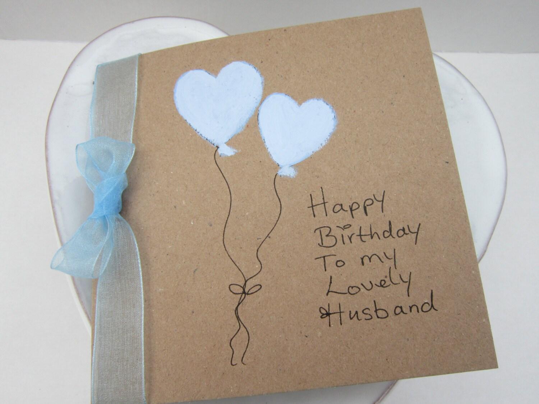 Handpainted card heart balloons husband birthday card zoom bookmarktalkfo Choice Image