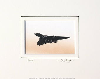 Vulcan Flying Original Signed Hand Cut Silhouette Papercut Art by John Speight - Gift for Him