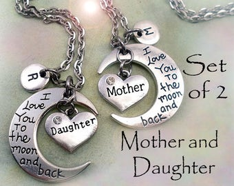 Mother Daughter Necklaces - Set of 2 I Love You to the Moon and Back Necklaces w-Letter Charms, Mom and Daughter Gift, Daughter Graduation