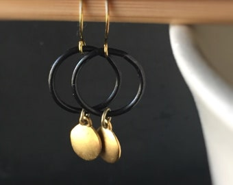 Charlotte Dangle Earrings with Backened Bronze Rings and Matte Gold Dots - Made from Recycled Elements