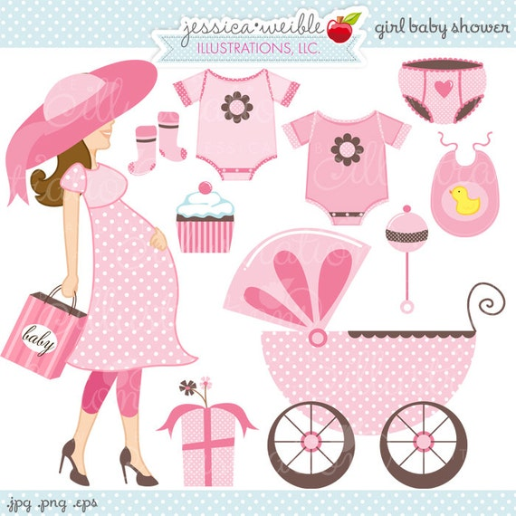 girl baby shower cute digital clipart commercial use ok rh etsy com baby shower clipart girl free Black Baby Girl Clip Art