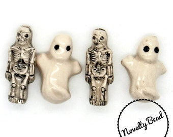 4 - Small - Ghost & Skeleton Beads - Halloween Beads - Fall Beads - Novelty Beads - Ceramic
