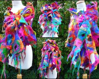 gefilzt, Halstuch, gefilzte Schal, handgefertigt, Lagenook, Merinowolle, Multi Farben, Farben des Regenbogens