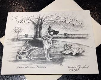 Baltimore Dogs Original Art Note Cards