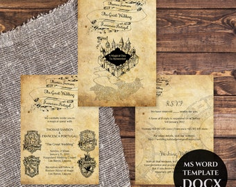 Harry Potter Wedding Invitation Template, Printable Wedding Invitations, DIY Wedding Invitation, Editable Text, Harry Potter, TVW042 DOCX