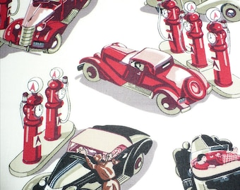 Car fabric, Vintage autos, Kaufman, Red, Black, Sewing, Quilting, 1/2 YARD, OOP, Rare