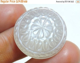 Summer Sale 1 Pc Outrageous Natural White Moonstone Carved Round Shaped Cabochon Very Fine Carved Size 20 MM