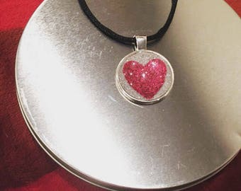 Red Glitter Heart Pendant Necklace - Red Heart - Glass Pendant - Glitter Necklace - Fun Gift Idea - or - Treat Yourself