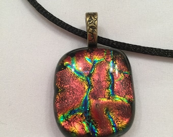 Fused glass pendant copper dichroic gift under 25