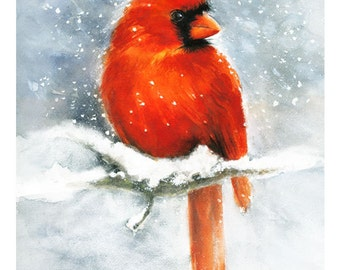 Cardinal Watercolor Giclee Print. Winter Snow Red Bird Painting.