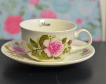 Gorgeous 'MUM' Floral Tea Cup and Matching Saucer Set (E9b)