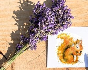 Squirrel card // squirrel greetings card // squirrel birthday card // squirrel notecard // squirrel gift // squirrel print // squirrel art