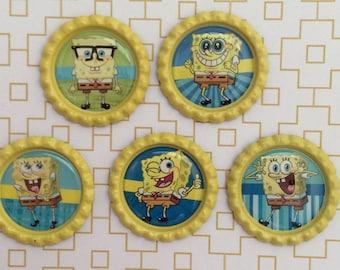 Sponge Bob Square Pants Inspired Bottle Caps Necklace/Keychain/Zipper Pulls