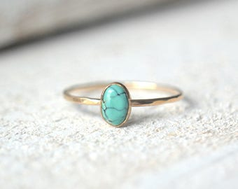 14k SOLID Gold Oval Ring- Yellow Gold Turquoise Ring, Dainty Oval Ring, Turquoise Oval Ring, Oval Ring, 14k Oval Turquoise Ring