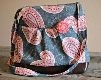 Handbag, Crossbody Purse, Messenger Bag, Medium Faux Leather Bag, Grey Coral Paisley Purse, Grey Coral Handbag, Vegan Leather, Pleated Purse