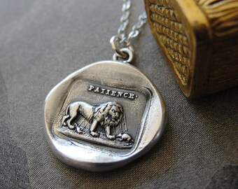Lion and Mouse Wax Seal Necklace - Aesop fable - antique French wax seal charm jewelry by RQP Studio
