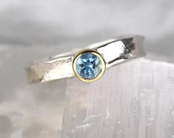 Rustic Aquamarine Ring | Silver and Aquamarine Ring | Unique Promise Ring | March Birthstone Ring | Simple Mixed Metal Aquamarine Ring