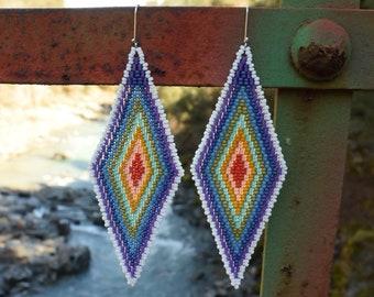 Rainbow Diamond Earrings - Seed Beads