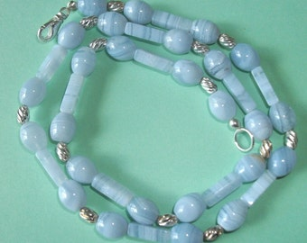 Gemstone Jewelry Necklace - Blue Lace Agate and Sterling Silver Gemstone Beaded Necklace