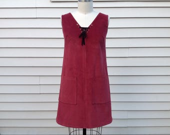 SALE Janis Corduroy dress with lace up detail- Medium