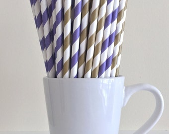 Purple and Gold Striped Paper Straws Dark Gold and Purple Party Supplies Party Decor Bar Cart Cake Pop Sticks Mason Jar Straws Graduation