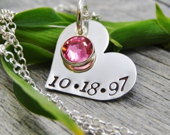 Hand Stamped Heart Necklace - Personalized Jewelry - Mom Necklace - Sterling Silver Heart Necklace - Date And One Birthstone