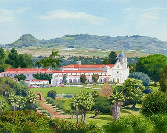 California Mission San Luis Rey by Mary Helmreich