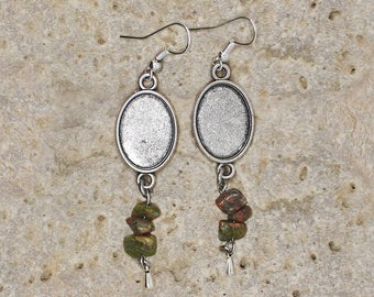 earring holder for 13 X 18 mm unakite cabochon