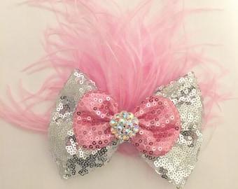 Silver Pink Hair Bow, Dance Costume Hair Bow, Silver Pink Sequin Hair Bow Feather Hair Piece, Custom Dance Hair Pieces.