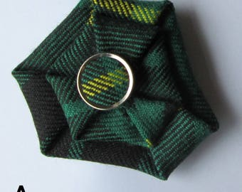 MacArthur Tartan Brooch with tartan button centre made from wool