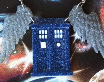 DISCOUNTED Angel Tardis Glitter Resin Necklace