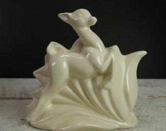 Vintage Haeger Fawn Bambi Deer Gazelle Pottery Planter USA Beige Cream