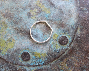 Flattened sterling silver ring, ring dish, flattened ring