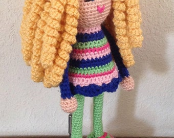 Crochet Plush Doll Long Blonde Curls Curly Yellow Blond Hair Colorful Blue Eyes Green Blue Pink Stuffed Toy Baby Girl Gift, MADE TO ORDER