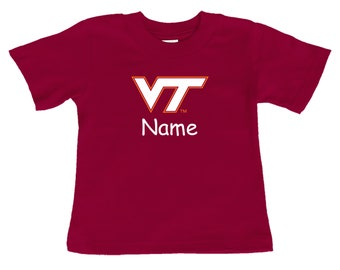 Virginia Tech Hokies Personalized Color Baby/Toddler T-Shirt