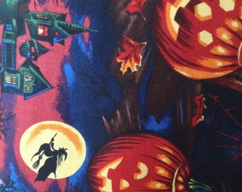 Fabric by the 1/4 Yard - Halloween Bellknobs and Broomsticks Cotton