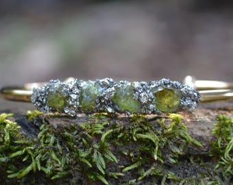Peridot, Peridot Bracelet, Cuff Bracelet, Raw Peridot, Peridot Jewelry, August Birthstone, Birthday Gift, Gift for Her, Birthstone Jewelry